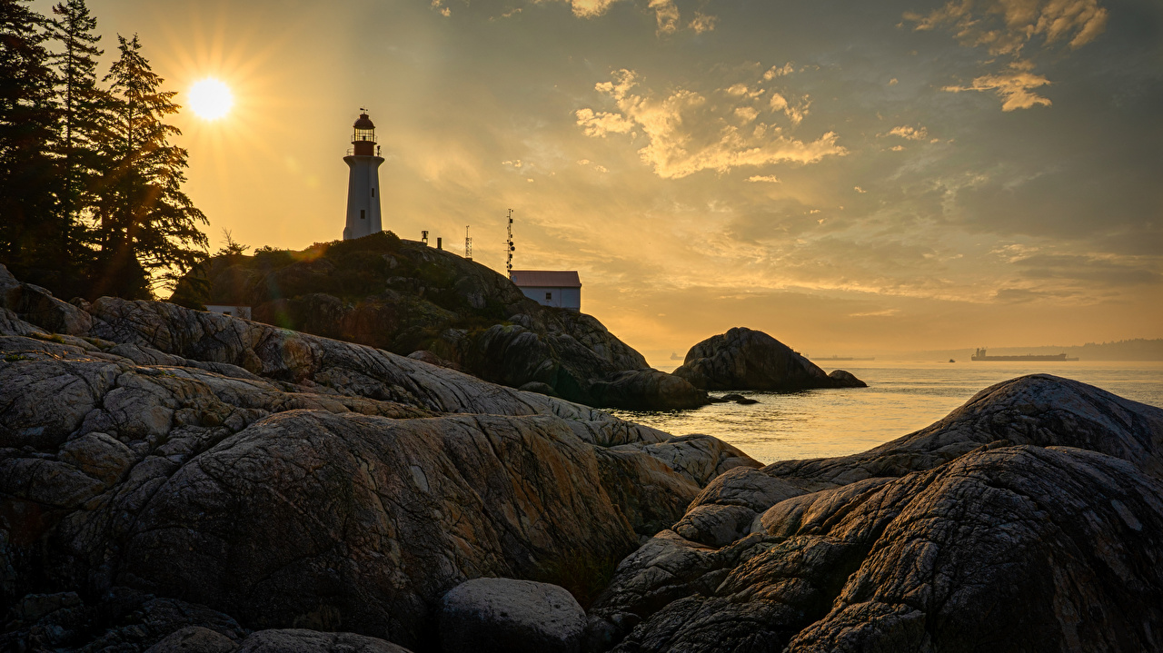 Wallpaper Canada Point Atkinson Cliff Nature Lighthouses sunrise and sunset Coast Crag Rock Sunrises and sunsets