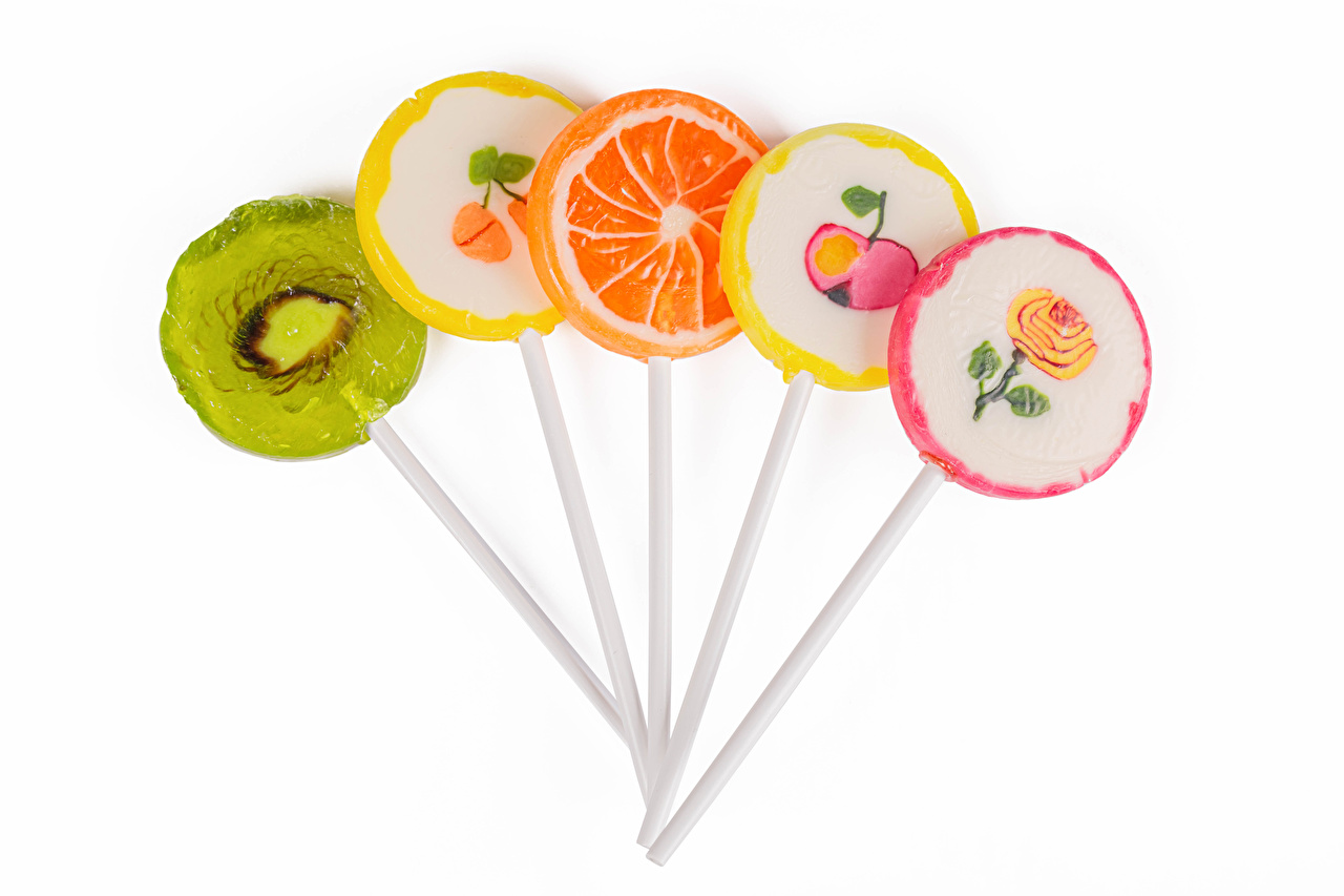 Pictures Candy Lollipop Food White background Design