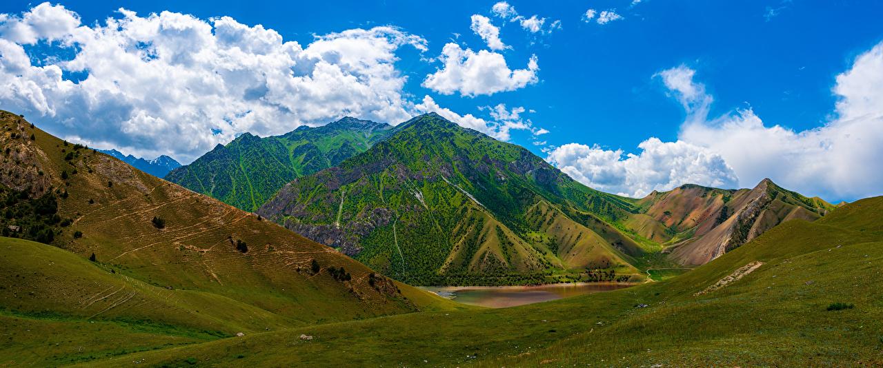 Montagnes Lac Panorama Kolduk Lakes, Kyrgyzstan Nuage montagne, photographie Nature