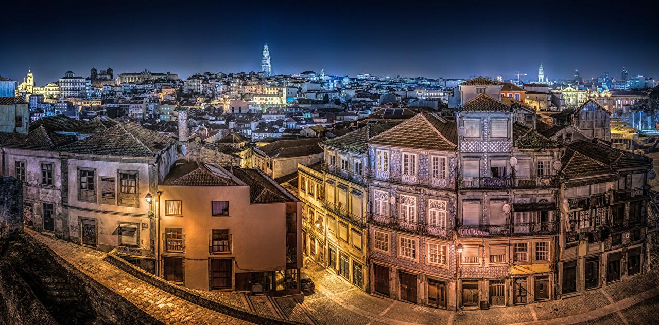 Images Cities Oporto Portugal Panorama Night Houses Porto panoramic Building night time
