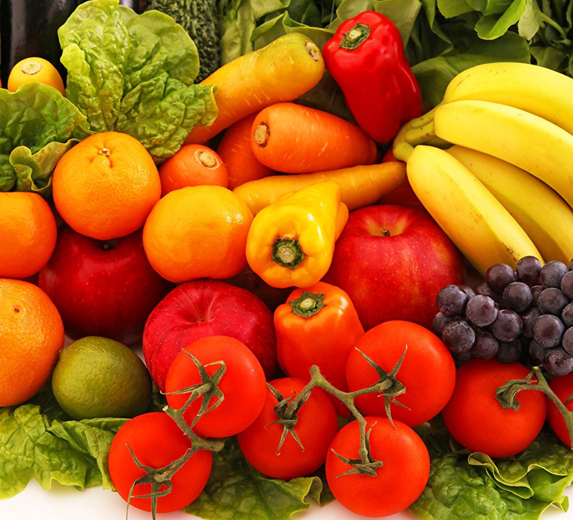 Foto Tomate Mandarine Mohrrübe Äpfel Bananen Obst Gemüse Peperone das Essen Lebensmittel