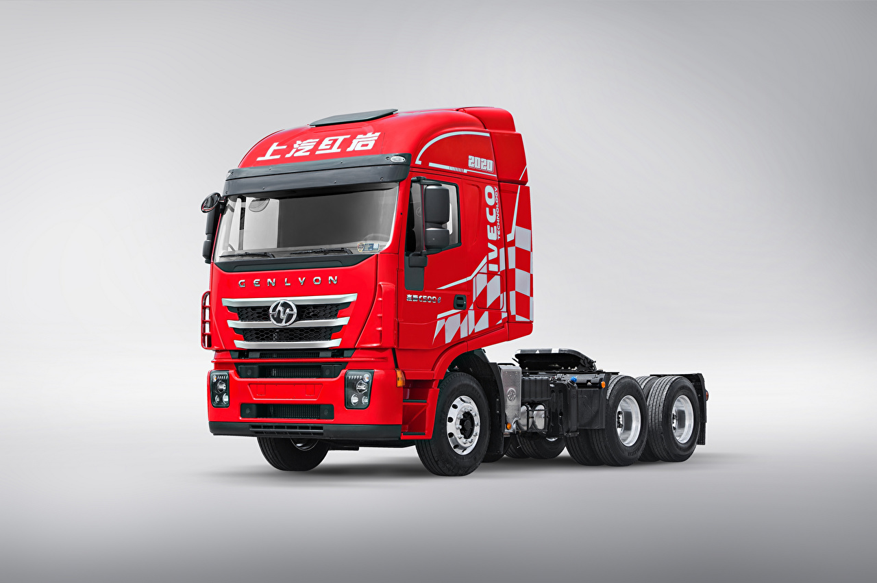 Image lorry Chinese Red automobile Gray background Trucks Cars auto
