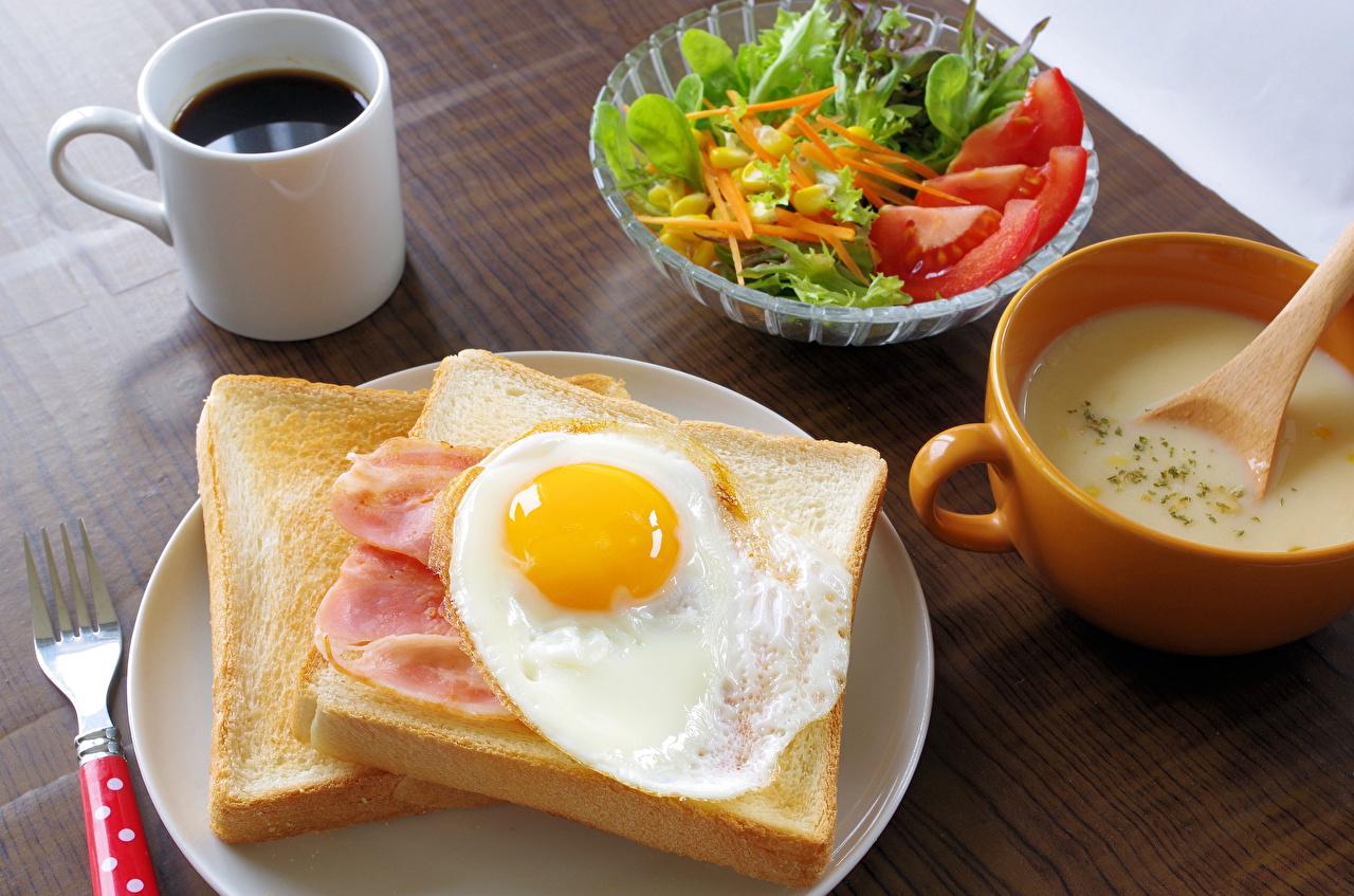 Desktop Wallpapers Fried egg Coffee Breakfast Bread Cup Food Salads