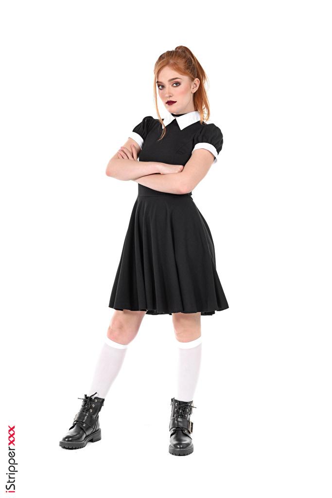 Fotos Jia Lissa Long Socken Braune Haare Schulmädchen iStripper Boots Mädchens Bein Hand Kleid  für Handy Schülerin Braunhaarige junge frau junge Frauen