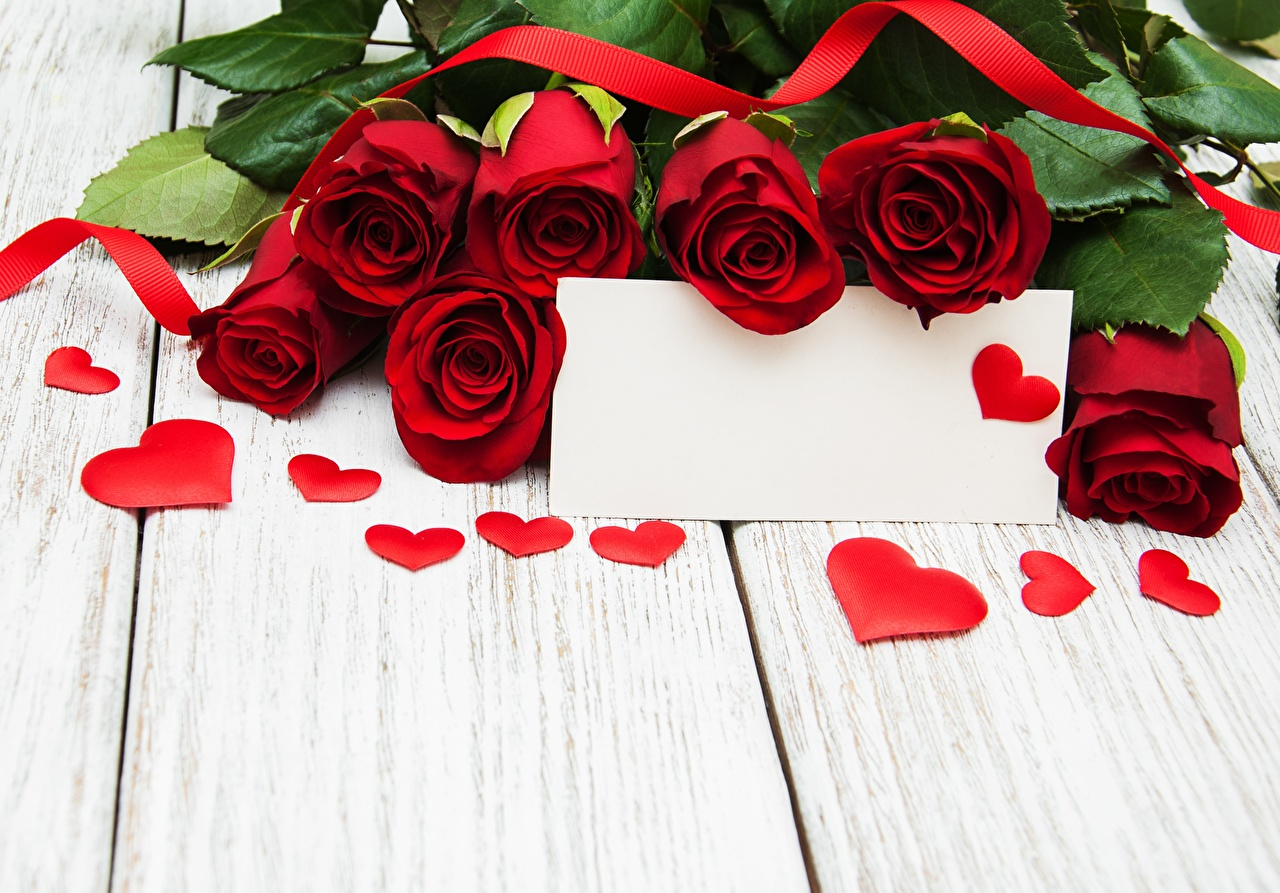Images Valentine's Day Heart Roses Flowers Template greeting card Wood planks rose flower boards