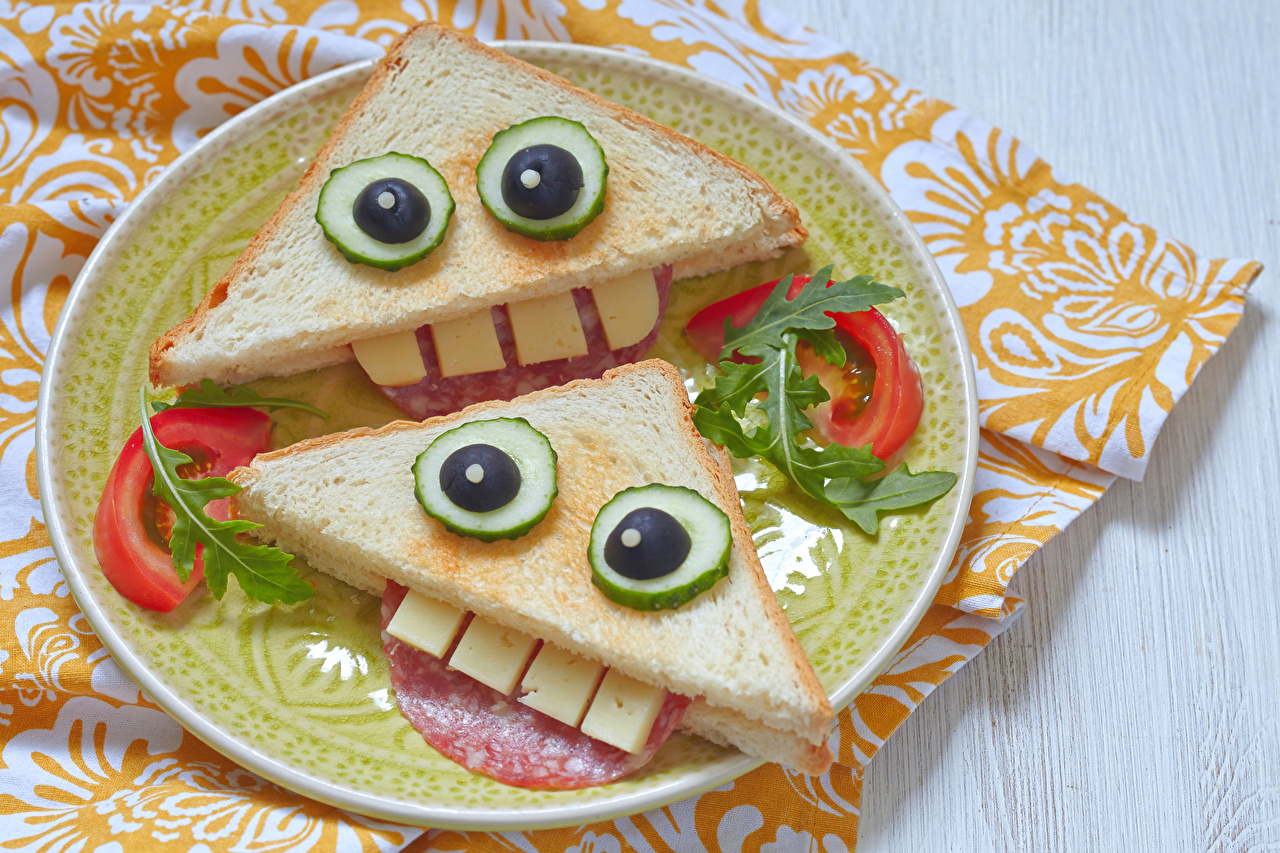 Pictures Two Sandwich Food Plate Vegetables Design 2