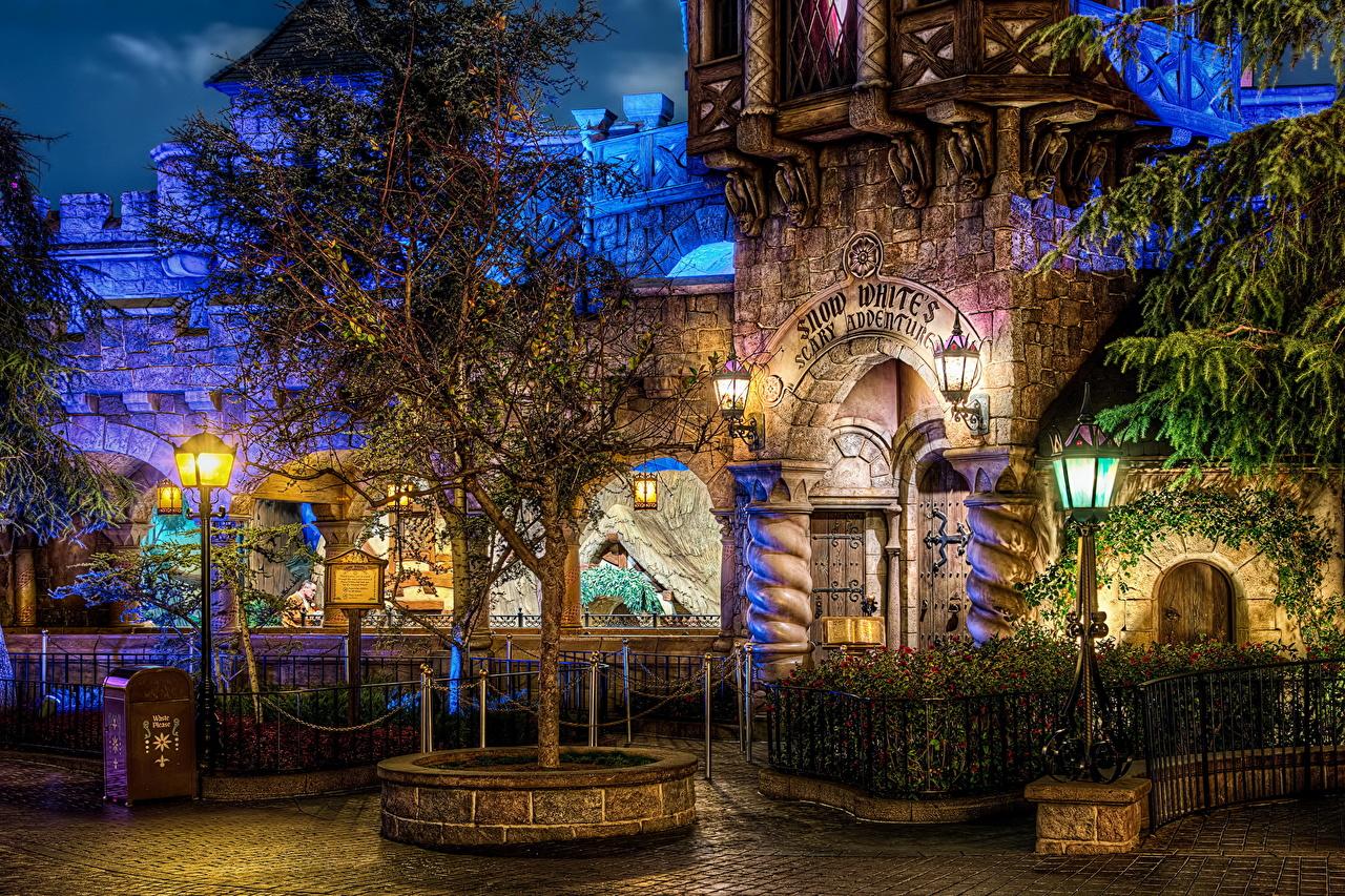 壁紙 アメリカ合衆国 ディズニーランド カリフォルニア州 街灯 夜