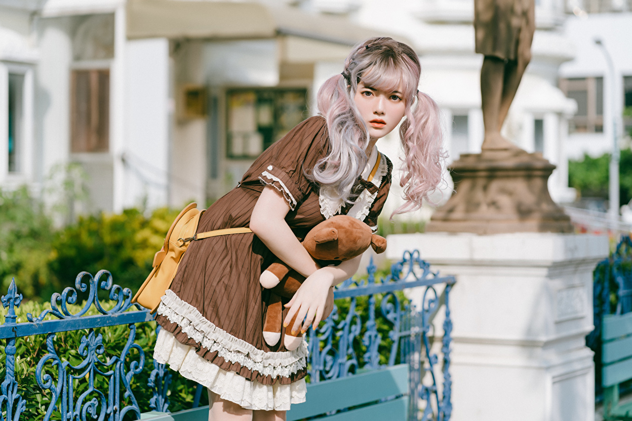 Picture Blonde girl Cosplay posing young woman Asiatic Glance Dress cosplayers costume play Pose Girls female Asian Staring gown frock