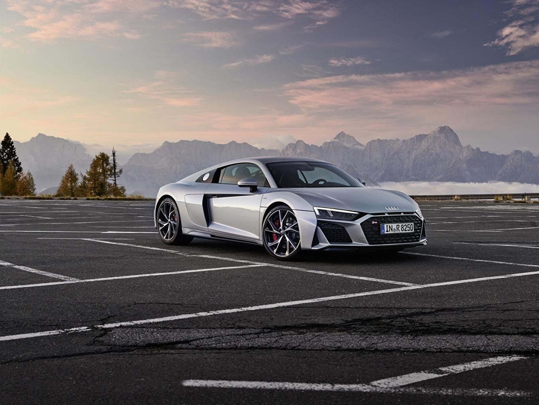 壁紙 アウディ Audi R8 V10 2020 Rwd 灰色 メタリック塗 駐車場