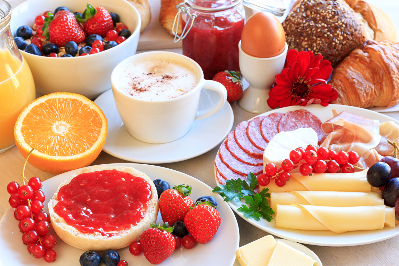 Image egg Jam Sausage Breakfast Cappuccino Cheese Currant Strawberry Cup Food Eggs Varenye Fruit preserves