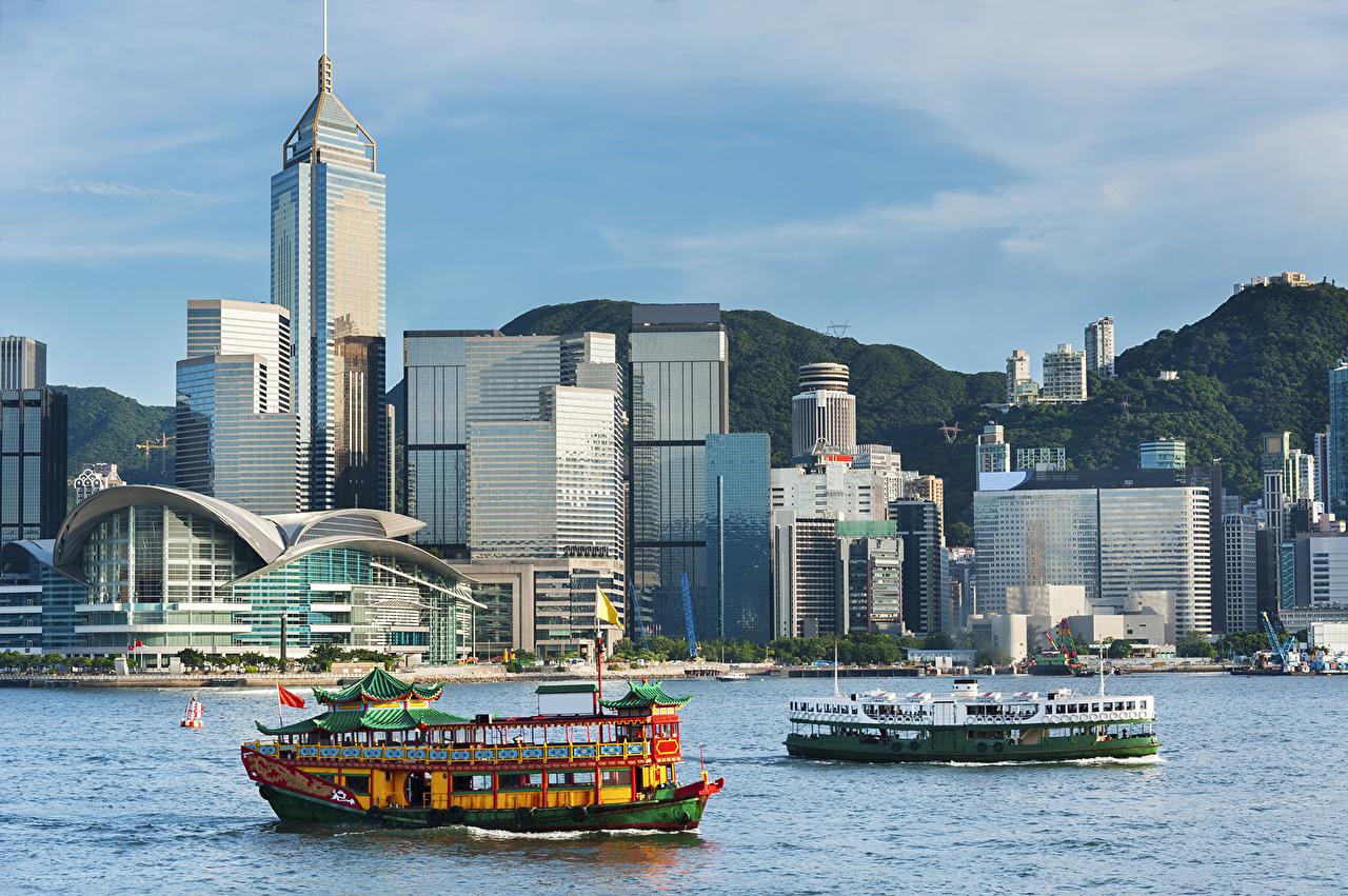 Desktop Wallpapers Hong Kong China Houses Riverboat River Cities