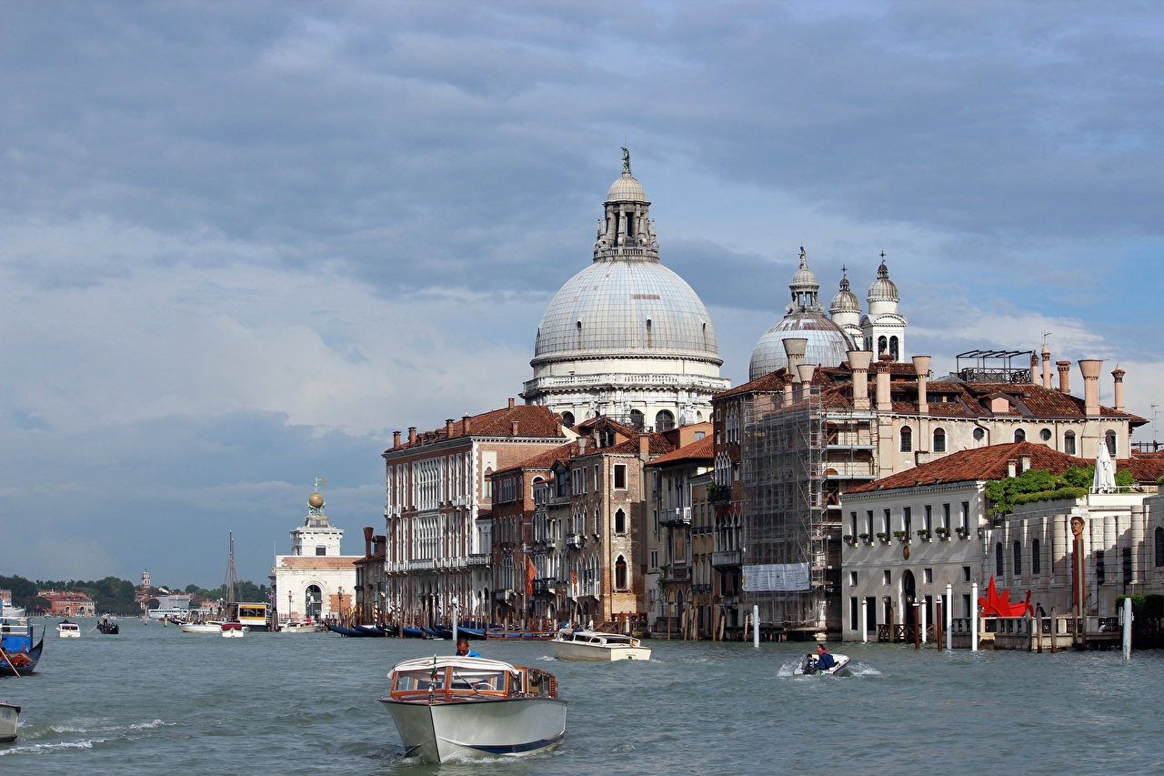 Image Venice Cathedral Italy Grand canal Canal Motorboat Cities speedboat powerboat