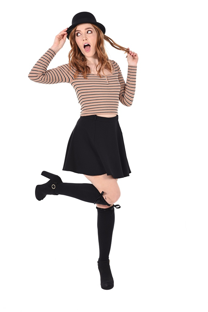 Image young woman Jia Lissa Hands White background Legs Hat Brown haired Wearing boots Skirt posing iStripper  for Mobile phone Girls female Pose