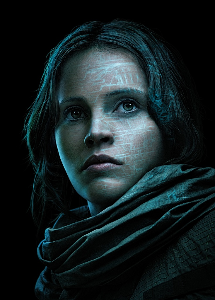 Images Rogue One: A Star Wars Story Felicity Jones Jyn Erso Face Girls Movies Glance Celebrities Black background  for Mobile phone female young woman film Staring