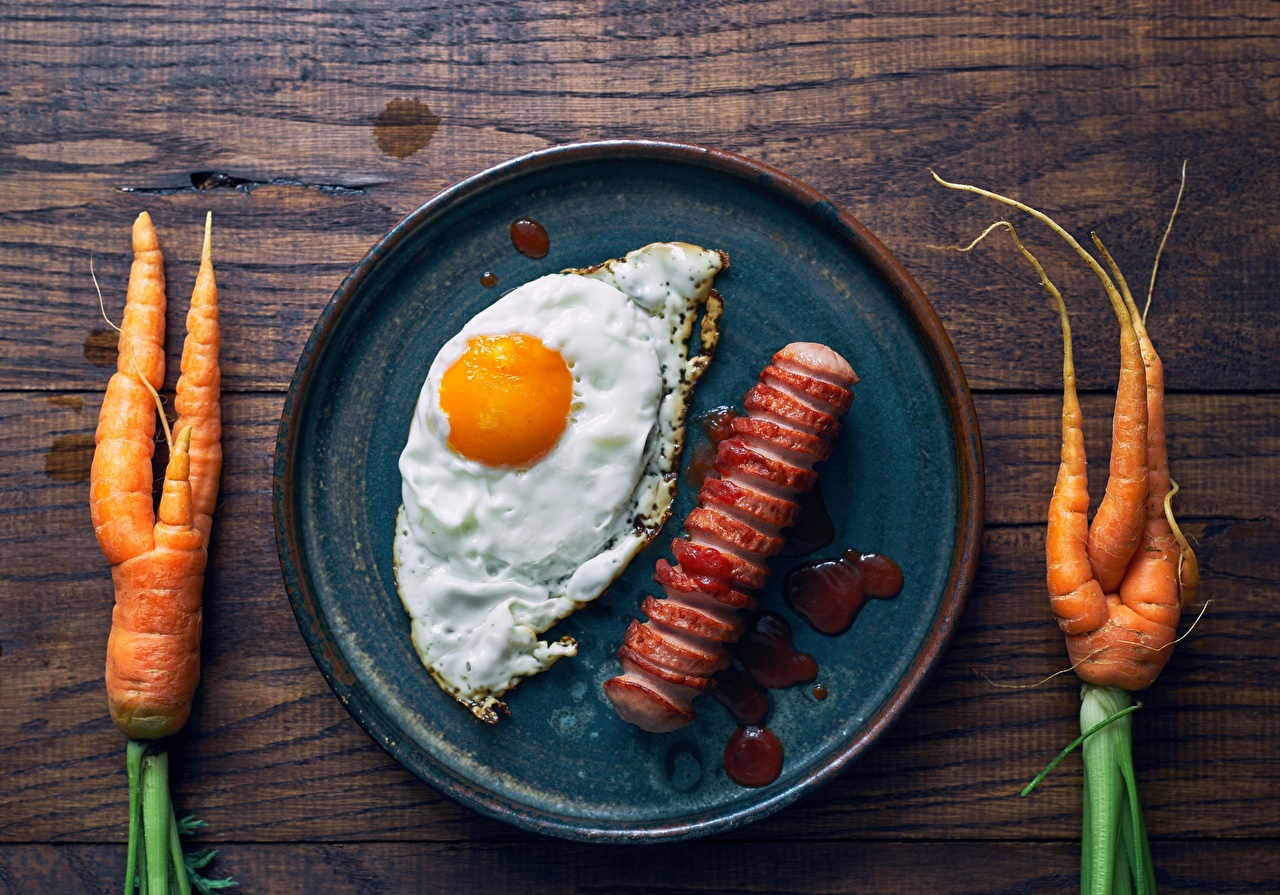 Images Fried egg Carrots frypan Vienna sausage Food Frying pan