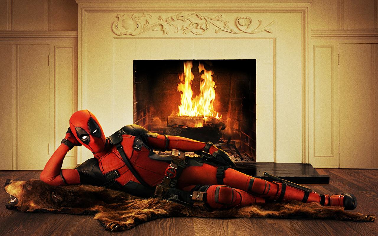 Desktop Wallpapers Heroes comics Deadpool hero Wade Winston Wilson Fantasy Fireplace superheroes