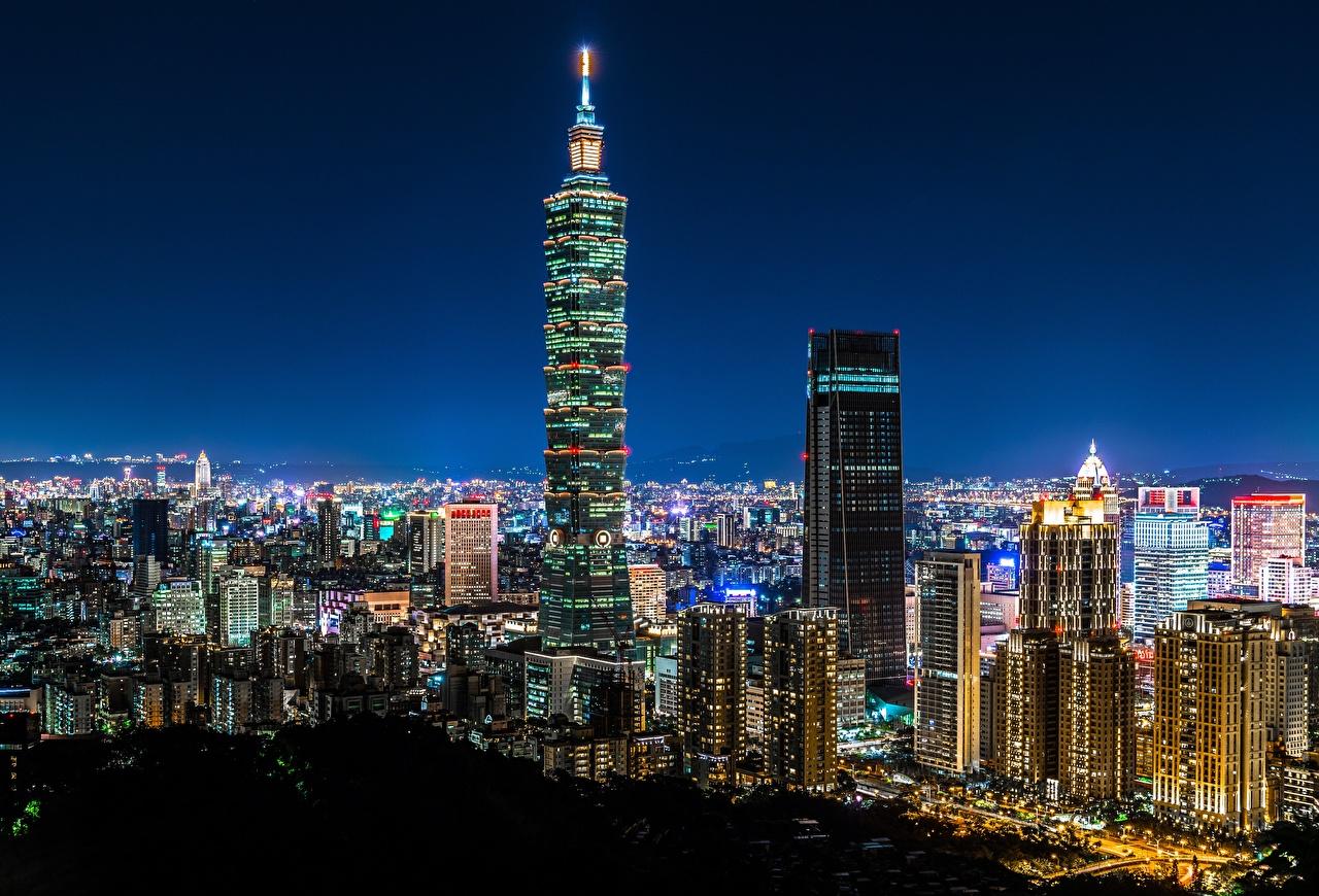 Bilder Taiwan China Taipei 101 World Financial Center Nacht Wolkenkratzer Haus Städte Gebäude