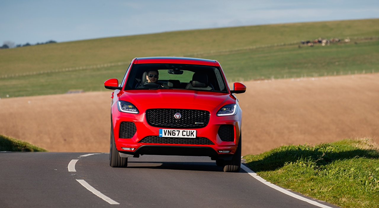 Pictures Jaguar Crossover E-Pace, R-Dynamic First Edition, UK-spec, 2017 Red Cars Front Asphalt CUV auto automobile