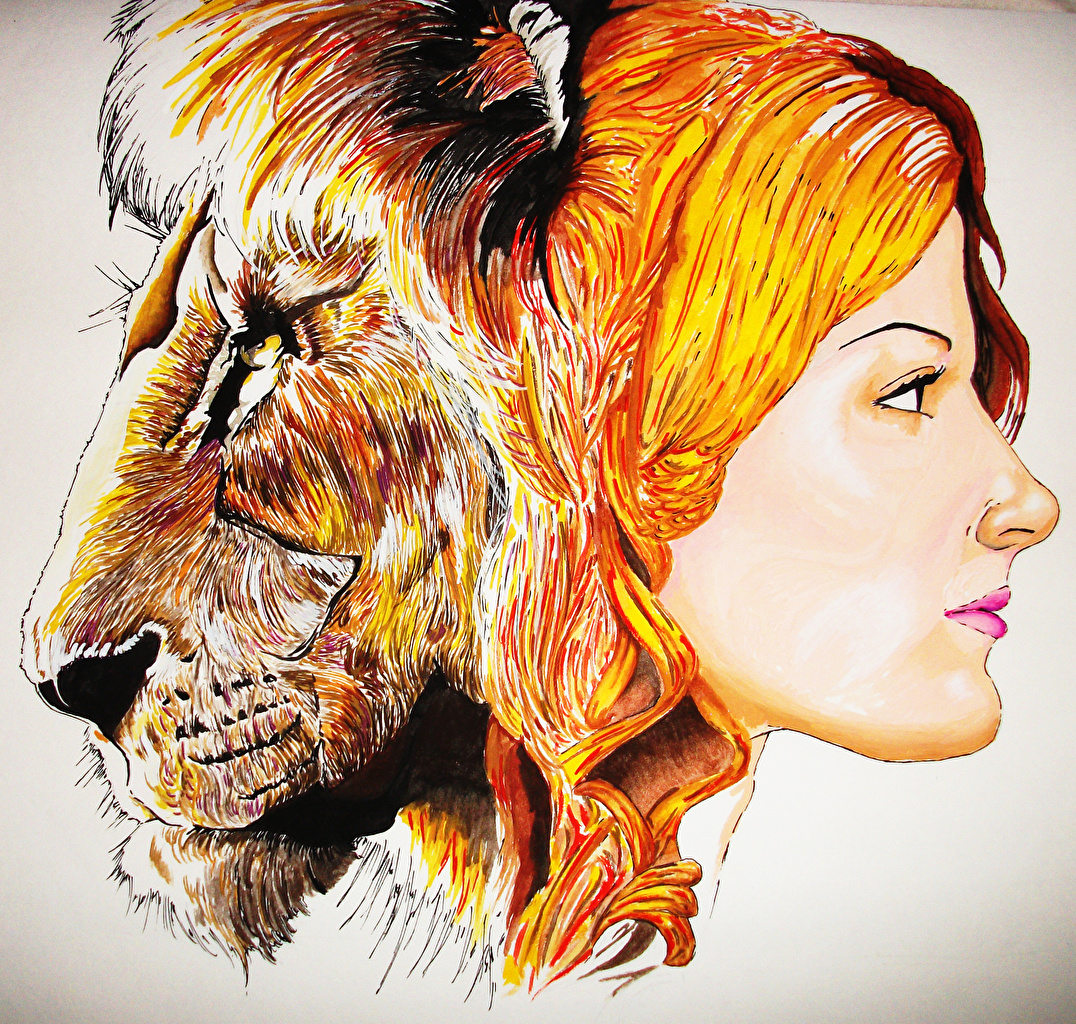 Pictures lion Redhead girl Fantasy Head Lions