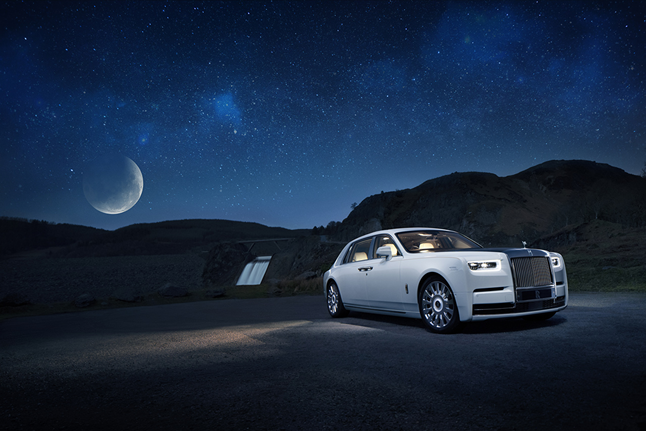 Images Rolls-Royce 2019 Phantom Tranquillity White Cars Night auto night time automobile