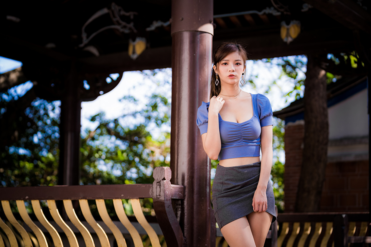 Picture Skirt Pose Blouse young woman Asian Hands Glance posing Girls female Asiatic Staring