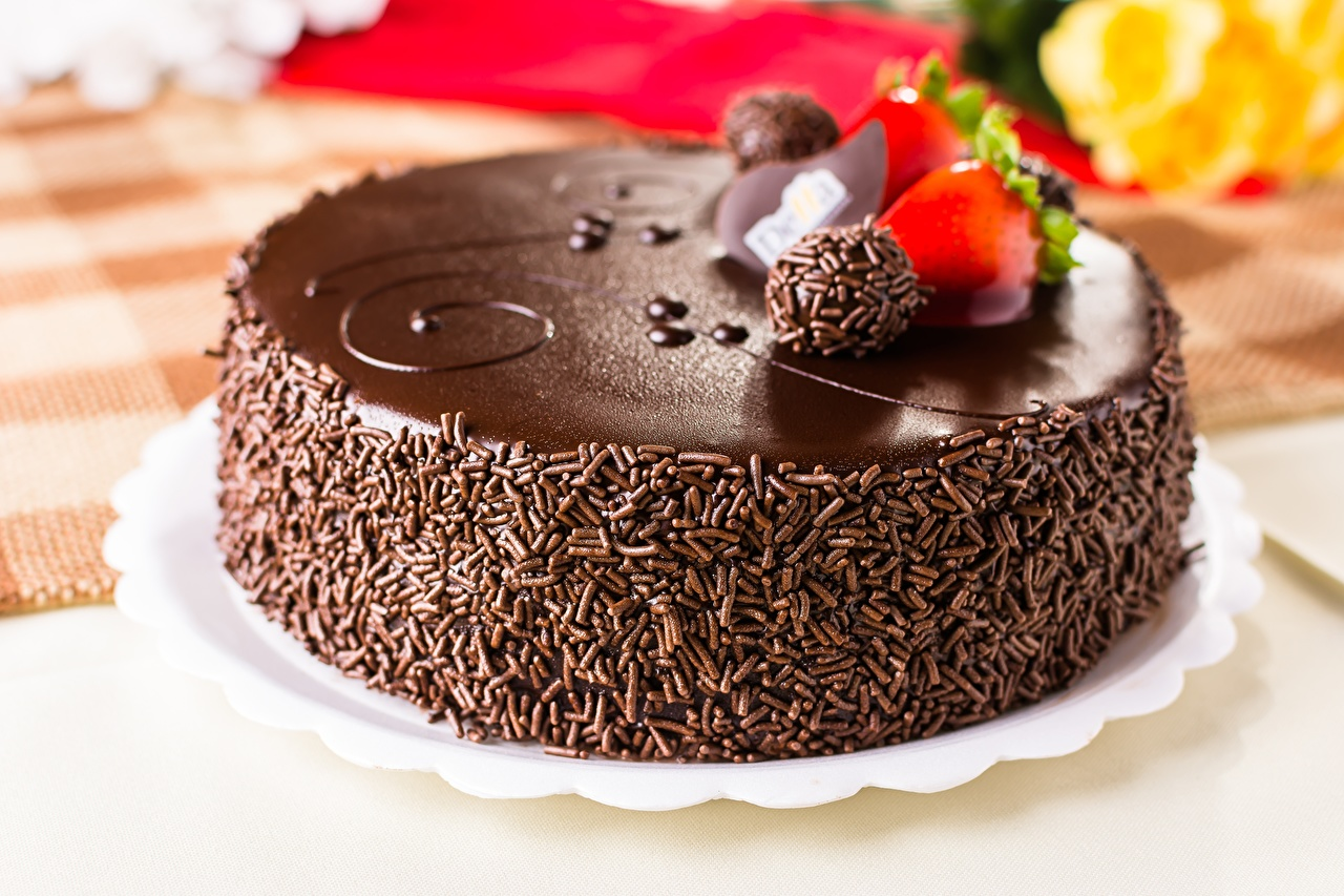 Wallpaper Chocolate Cakes Food Closeup Torte