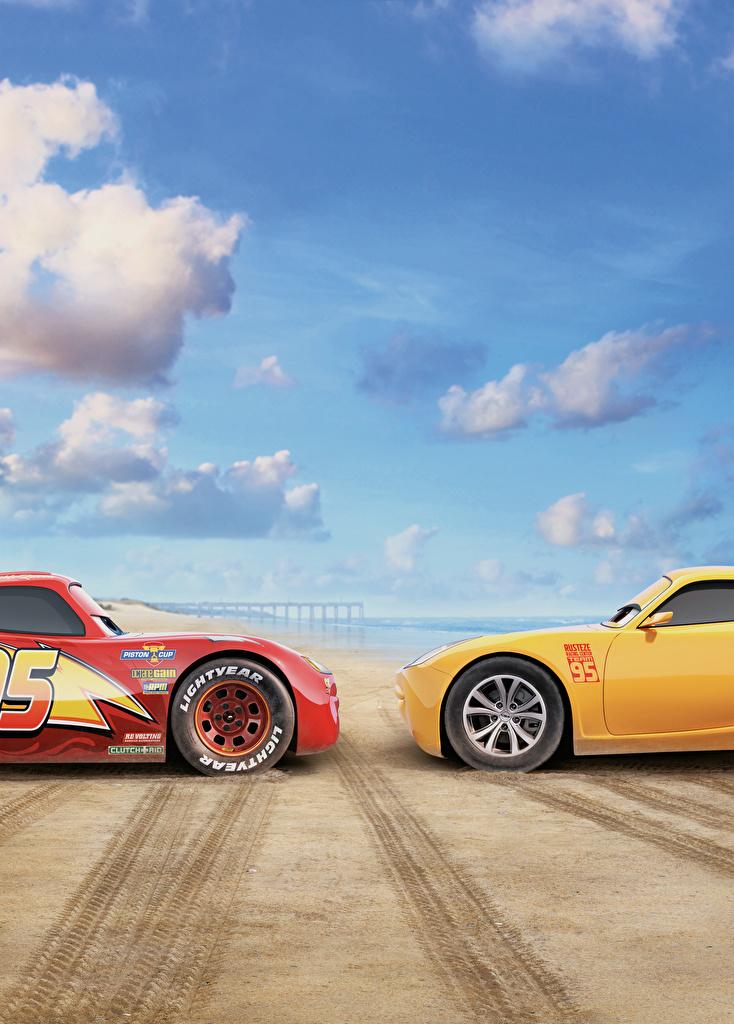 Hintergrundbilder Cars 3 Lightning McQueen, Cruz Ramirez Rot Gelb Zwei Animationsfilm 2 Zeichentrickfilm
