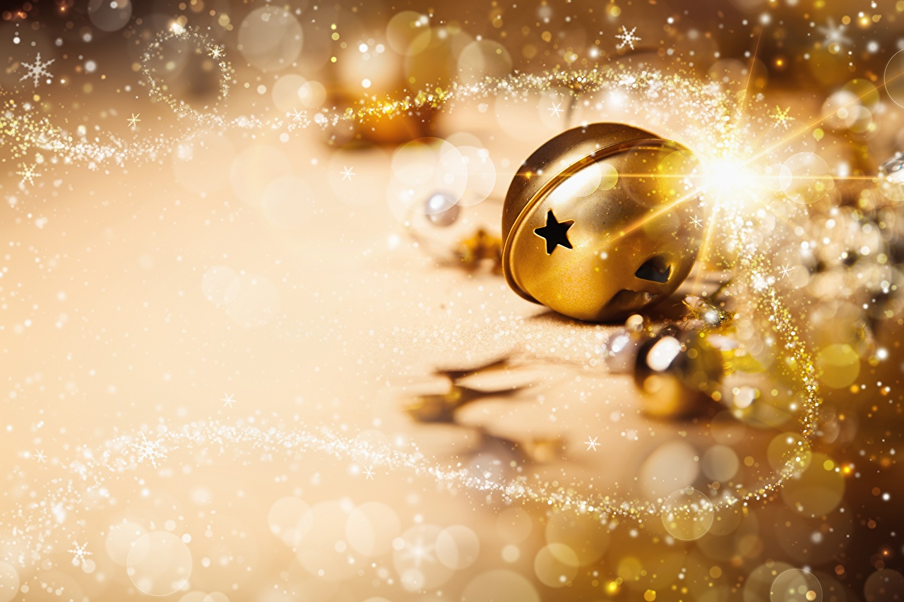 Desktop Wallpapers Christmas Gold color Balls Holidays New year