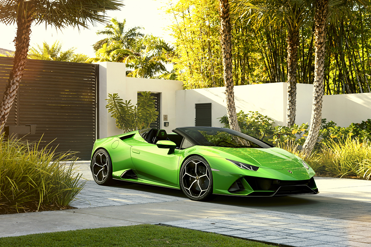 Wallpaper Lamborghini 2019 Huracan EVO Spyder Roadster Yellow green Cars Metallic auto automobile