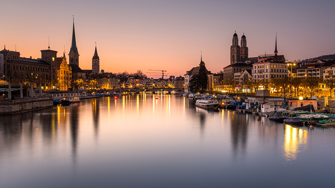 Photo Zurich Switzerland Bridges Riverboat Rivers Marinas Evening Houses Cities bridge Pier river Berth Building