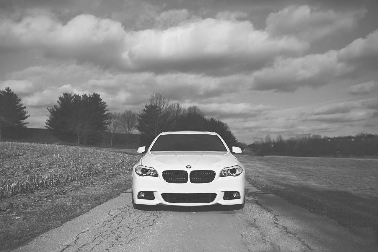 Photo BMW F10 5 Series White Front automobile Clouds Cars auto