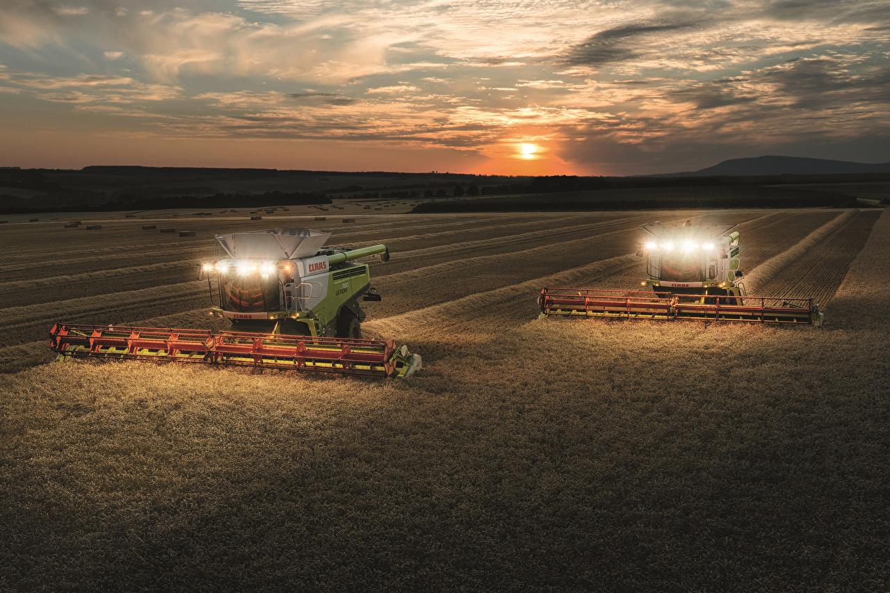 、農業機械、畑、夕、コンバインハーベスター、2012-17 Claas Lexion 780、2 二つ、