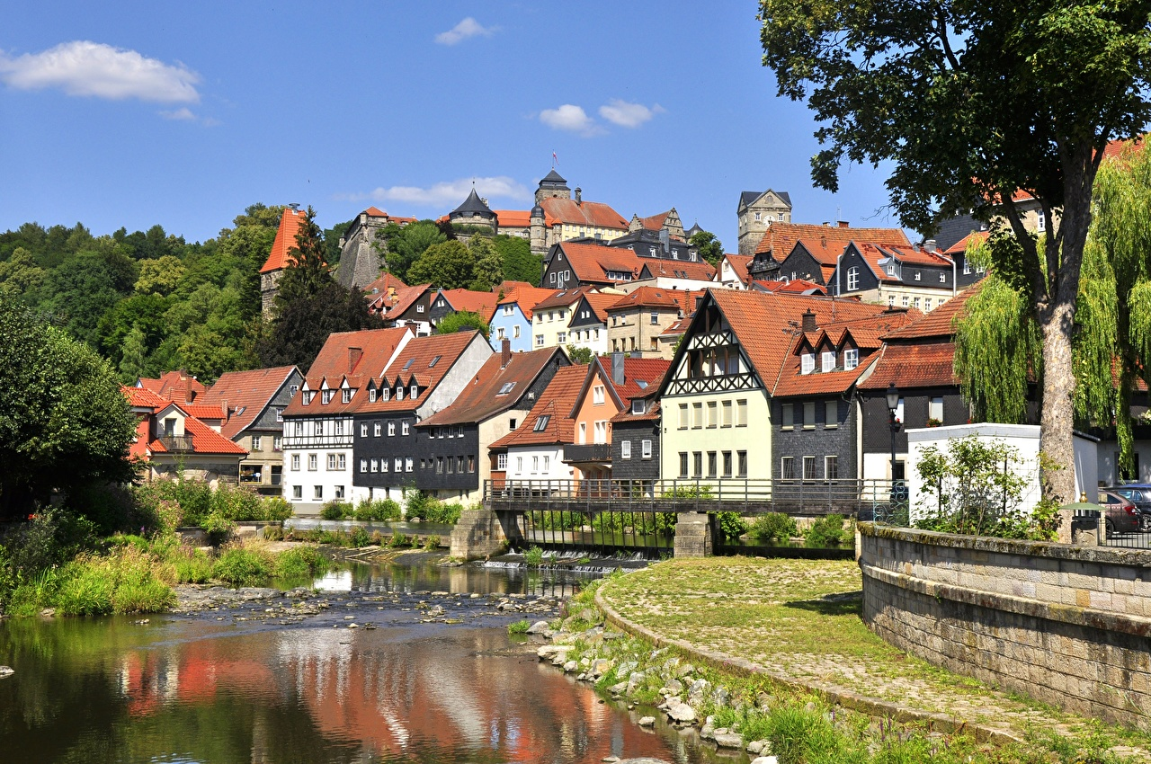 Image Bavaria Germany Kronach Rivers Cities Building river Houses