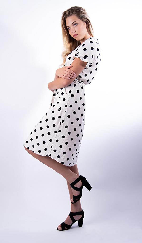 Fotos Mädchens Kleid Mia Chagnon Blick Blond Mädchen Pose  für Handy junge frau junge Frauen Starren Blondine posiert