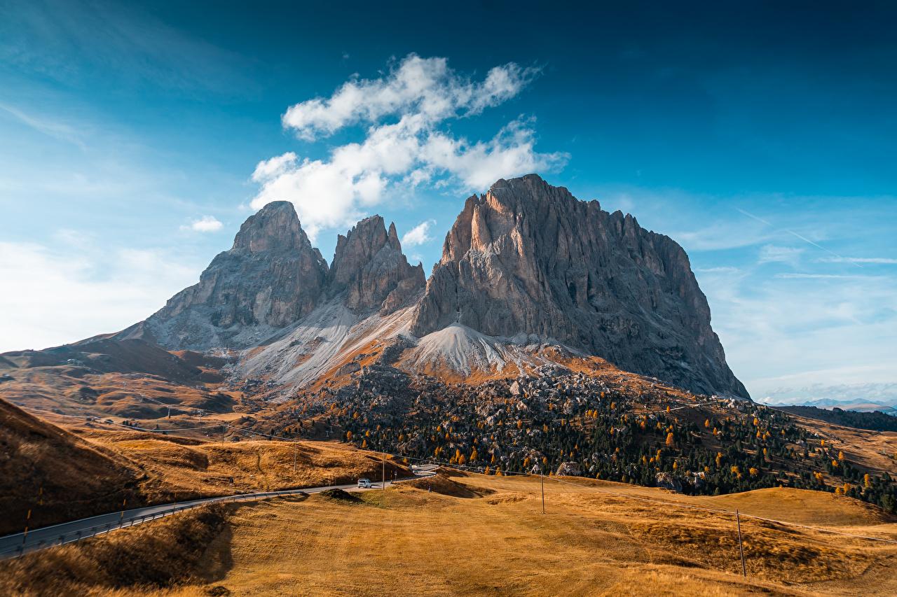 Desktop Wallpapers Italy Val Gardena, Dolomites Nature Autumn mountain Roads Mountains