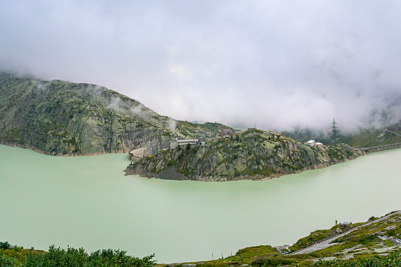 Pictures Switzerland Lake Grimsel Fog Rock Nature From above Crag Cliff