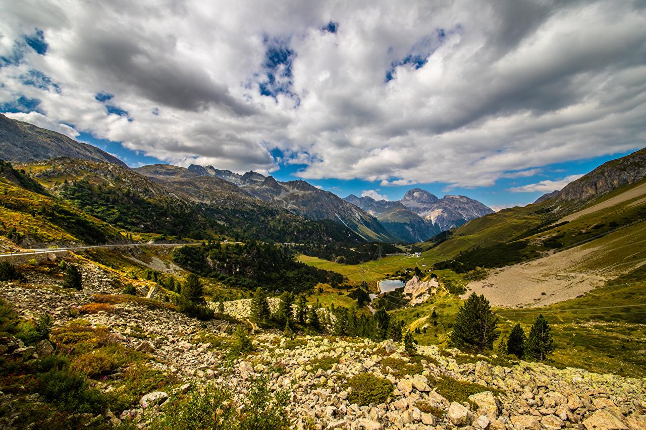 Bilder von Alpen Schweiz Albula Pass Ein Tal Natur Gebirge Wolke Berg