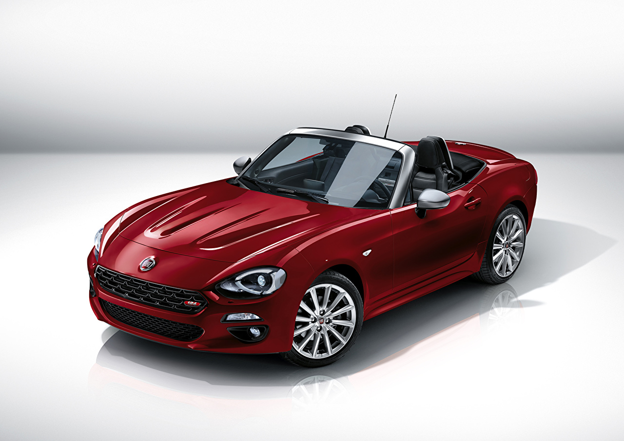 Wallpaper 2015 Fiat 124 spider Cabriolet maroon auto Metallic Convertible dark red burgundy Wine color Cars automobile