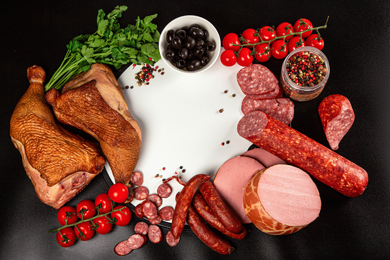 Desktop Wallpapers Olive Sausage Tomatoes Black pepper Roast Chicken Food Sliced food Cutting board