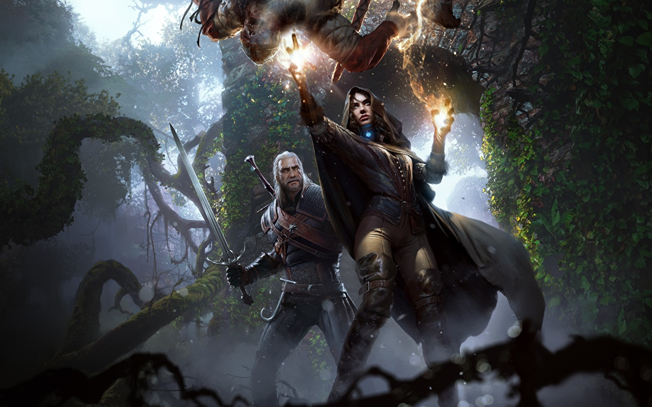 Bilder von The Witcher 3: Wild Hunt Magie Schwert Magier Hexer Geralt von Rivia Yennefer Fantasy Mädchens Spiele