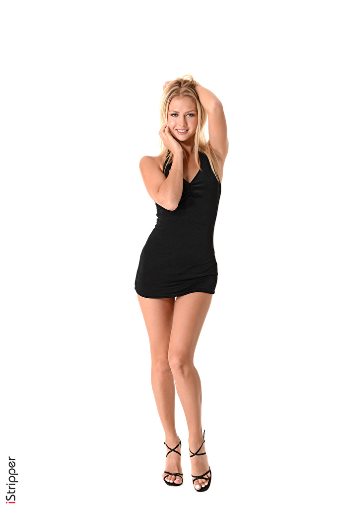 ,iStripper,Kristina,白色背景,金发女孩,微笑,姿勢,手,连衣裙,腿,皮鞋,年輕女性,女孩,