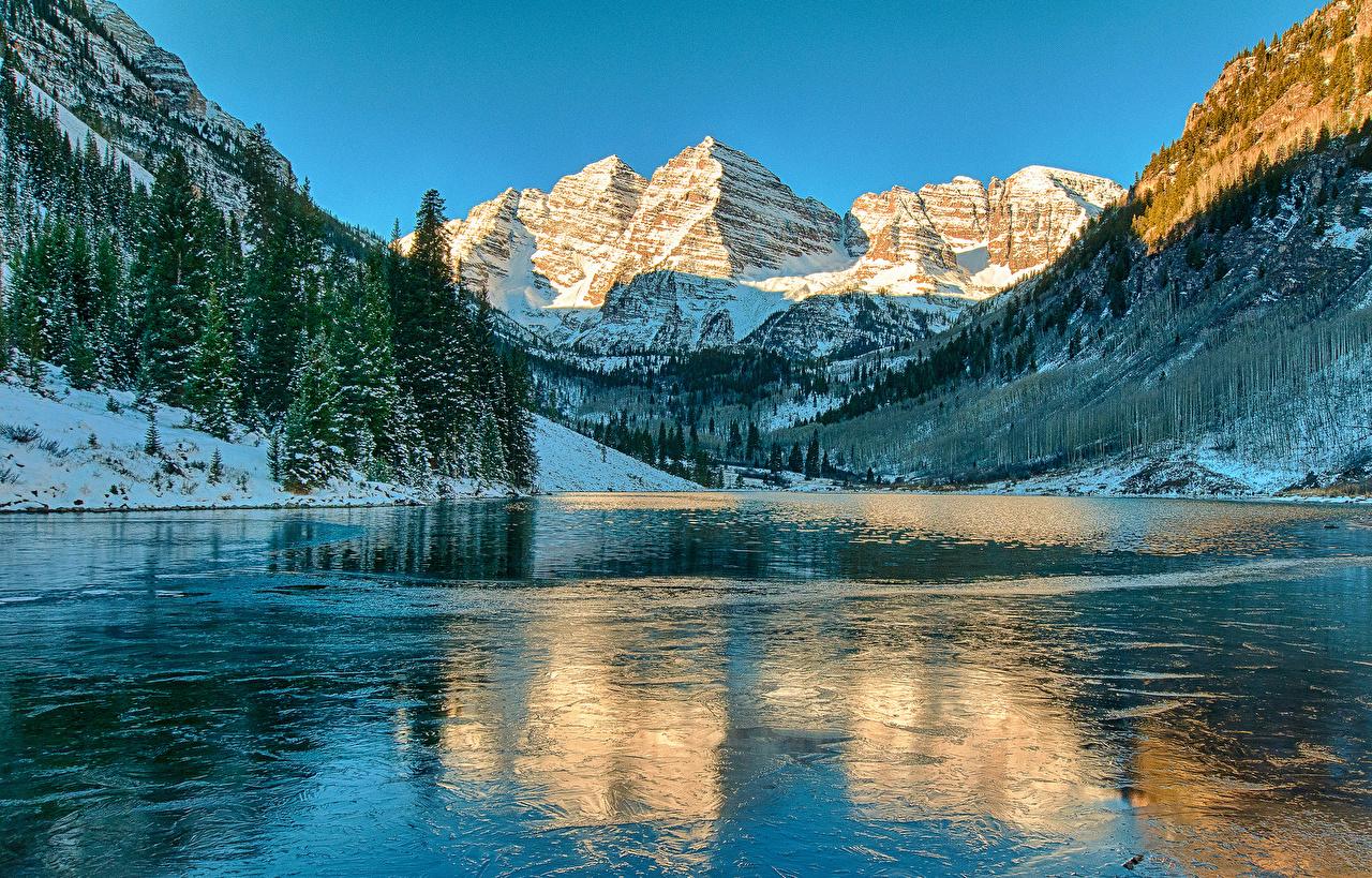 Photo Nature mountain Lake Snow Scenery Mountains landscape photography