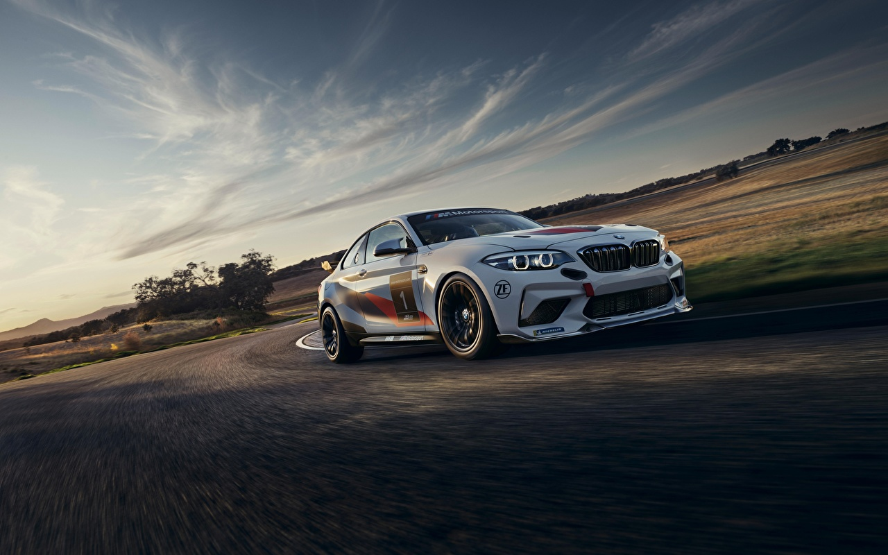 Desktop Wallpapers BMW 2020 M2 CS Racing White Motion automobile moving riding driving at speed Cars auto