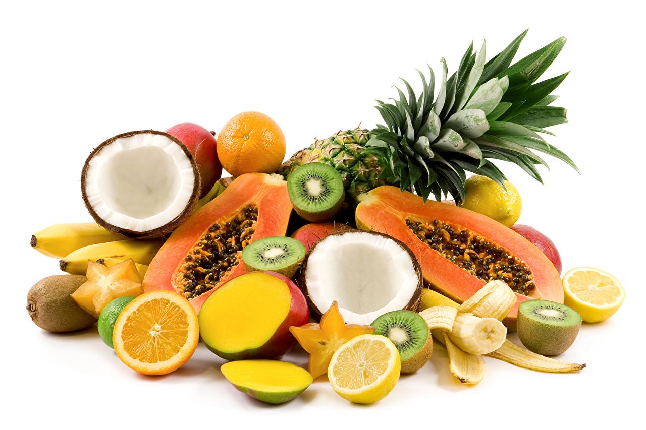 Bilder von Orange Frucht Ananas Kokosnuss Kiwifrucht Obst das Essen Apfelsine Kiwi Kokos Chinesische Stachelbeere Lebensmittel