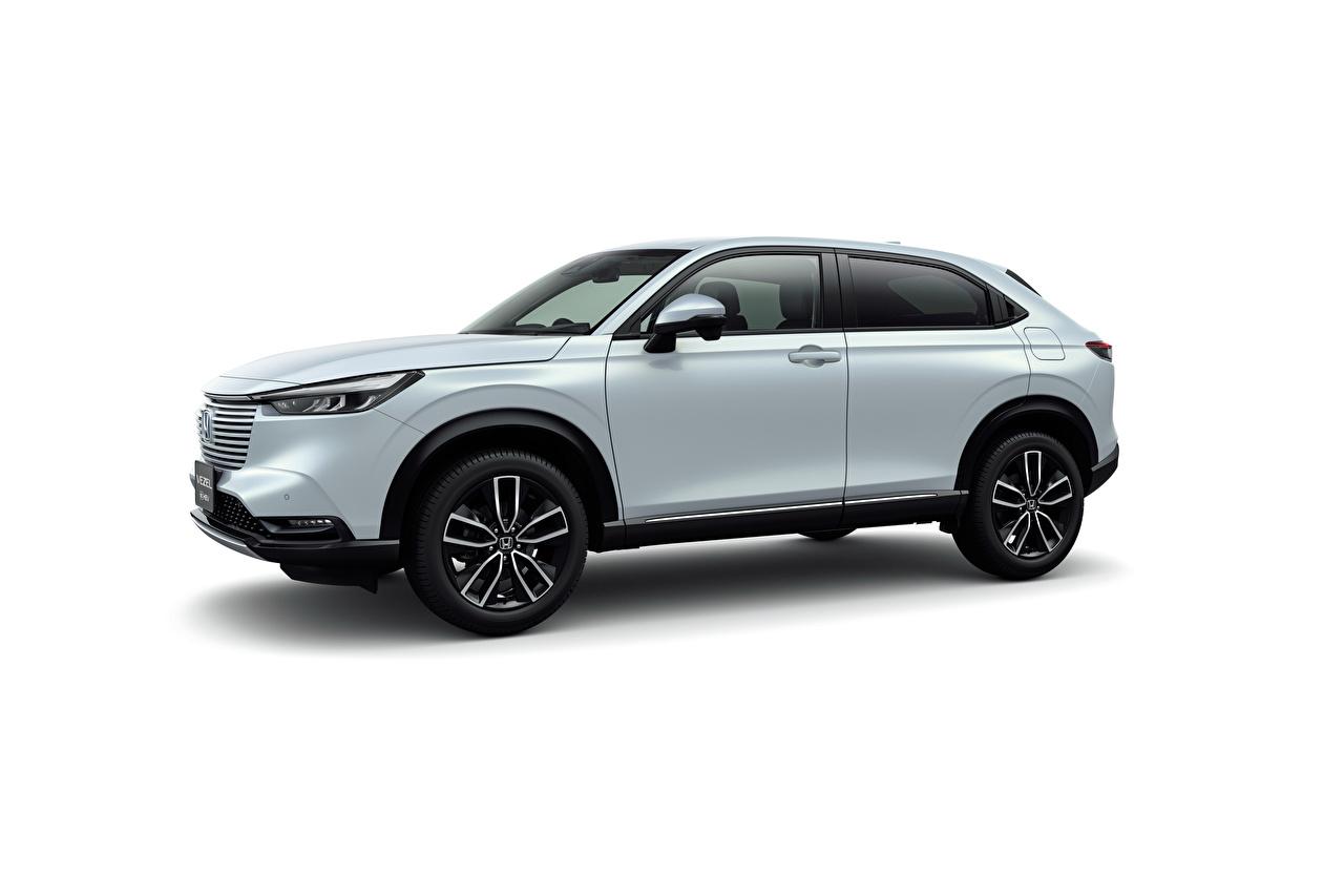 Image Honda Crossover Vezel e:HEV, JP-spec, 2021 Hybrid vehicle White Metallic automobile White background CUV Cars auto