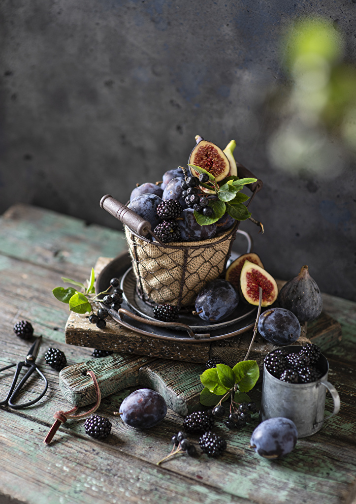 Desktop Wallpapers ficus carica Plums Blackberry Wicker basket Mug Food Still-life  for Mobile phone figs Common fig