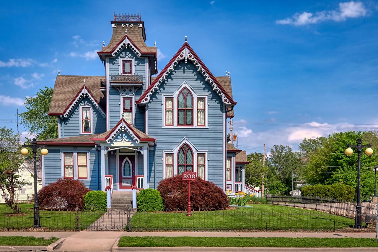 Bilder von USA Springfield, Illinois Zaun Herrenhaus Rasen Straßenlaterne Städte Gebäude Vereinigte Staaten Eigenheim Haus