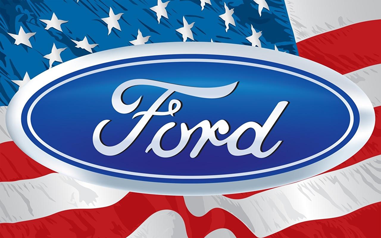 Photo Ford American Logo Emblem Flag US