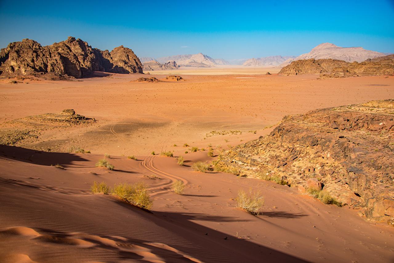 Bilder Wadi Rum, Jordan Natur Wüste Felsen Sand Stein Steine