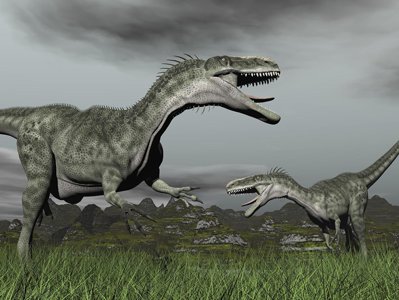 Wallpaper Dinosaurs Two 3D Graphics Grass Animals 2 animal